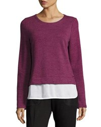 Marc New York Twofer Knit And Georgette Top Ripe Fig