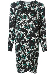 Julien David Pixel Palm Tree Print Dress Green