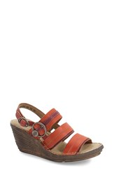 Women's Fly London 'Salm' Wedge Sandal Street Red Leather