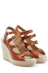 A.P.C. Leather Wedges Brown