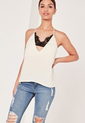 Missguided Insert Lace Strap Detail Cami Top Cream Ivory