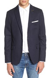 Scotch And Soda Men's Extra Trim Fit Pattern Blazer Navy