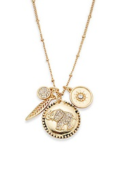 Saks Fifth Avenue Pave Elephant Charm Necklace Gold