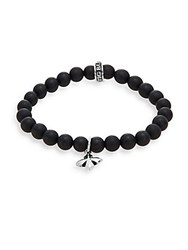 King Baby Studio Onyx And Sterling Silver Beaded Cross Charm Bracelet Silver Black