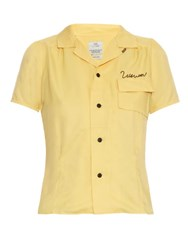 Visvim Pow Wow Embroidered Short Sleeved Shirt Light Yellow