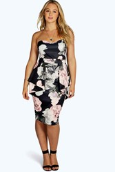 Boohoo Becky Floral Peplum Midi Dress Multi