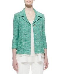 St. John Shantung Tweed Knit 3 4 Sleeve Jacket Green
