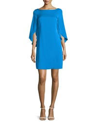 Milly Butterfly Sleeve Bateau Neck Dress Aqua Blue