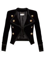 Saint Laurent Spencer Cotton Velour Cropped Jacket Black