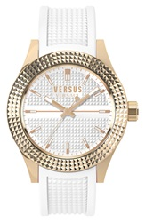 Versus By Versace 'Bayside' Rubber Strap Watch 42Mm White Rose Gold