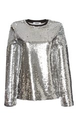 Msgm Long Sleeve Sequin Top Silver