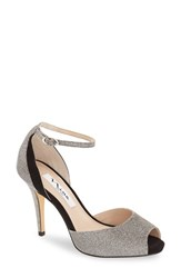Nina Women's 'Rimma' Open Toe D'orsay Sandal Steel Metallic Fabric