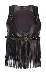 Elie Saab Leather Fringe Top With Harness Black