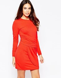Wal G Dress With Long Sleeves And Rouched Front Orange
