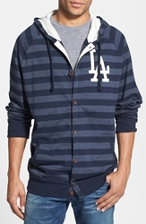 Mitchell And Ness 'Dodgers' Stripe Button Front Jersey Hoodie Blue