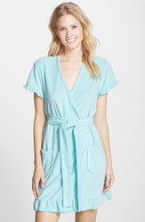 Women's Betsey Johnson 'Vintage' Ruffle Trim Terry Robe Jamaica Blue