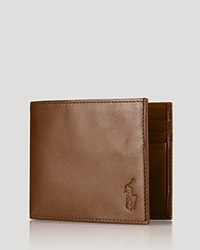 Polo Ralph Lauren Burnished Leather Billfold Wallet Brown