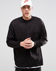 Weekday Bim Regular Fit Baseball Shirt Rib Collar In Almost Black Almost Black 73 219
