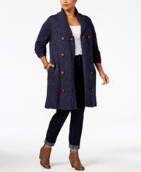 Melissa Mccarthy Seven7 Trendy Plus Size Double Breasted Cardigan Evening Blue