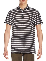 James Perse Striped Cotton And Cashmere Polo Shirt Charcoal