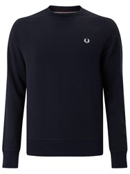 Fred Perry Loopback Crew Neck Sweater Navy