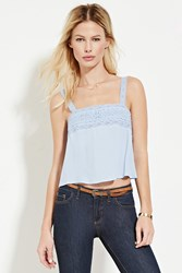 Forever 21 Lace Trimmed Top Light Blue