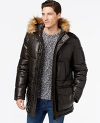 Tommy Hilfiger Faux Leather Quilted Puffer Jacket