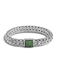 John Hardy Classic Chain Sterling Silver Large Bracelet With Tsavorite Clasp Green Silver