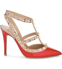 Valentino Rockstud 100 Patent Leather Heeled Courts Red