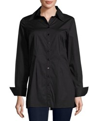 Neiman Marcus Button Front Spread Collar Blouse Black