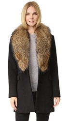Doma Wool Coat With Detachable Fur Collar Black