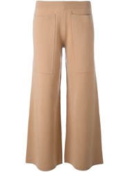 Joseph Flared Knit Trousers Nude And Neutrals