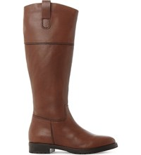 Dune Timi Zip Up Leather Riding Boots Dark Tan Leather