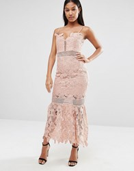 Love Triangle Cami Strap Long Length Midi Lace Dress Nude Peach Pink