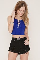 Forever 21 Lace Up Crop Top Royal