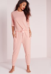 Missguided Ribbed Slouch Pajama Romper Nude Pink