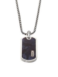 David Yurman Inlay Dog Tag Necklace Sterling Silver