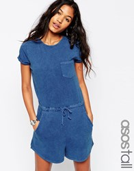 Asos Tall Denim Look Casual Playsuit Denim Blue