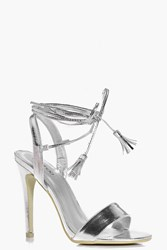 Boohoo Wrap Strap Two Part Sandal Silver