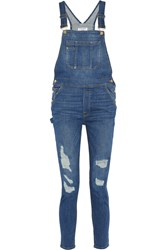 Frame Denim Le Garcon Distressed Stretch Denim Overalls Blue