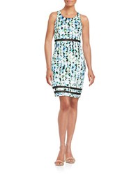 Guess Mesh Accented Sheath Dress Green Multi