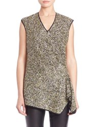 Josie Natori Sleeveless Sequin Top Green Multi