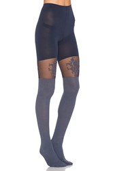 Spanx Floral Lace Over The Knee Tights Blue