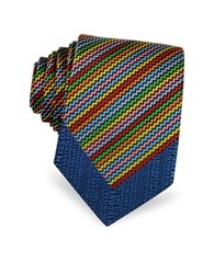 Missoni Micro Zig Zag Woven Silk Narrow Tie Blue