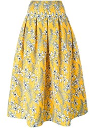 Oscar De La Renta Floral Print Full Skirt Women's Size 8 Yellow Orange Polyester Silk Yellow Orange
