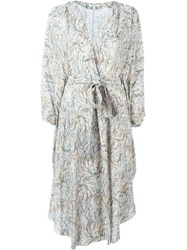 Dagmar Printed Wrap Kimono Dress Nude And Neutrals