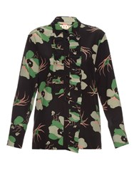 Marni Dakota Floral Print Silk Blouse Black Multi