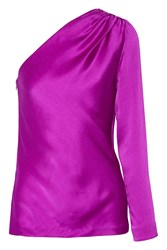 Cushnie Et Ochs One Shoulder Silk Satin Top Purple