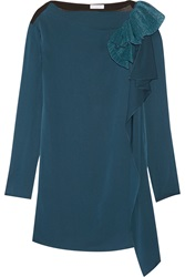Vionnet Ruffle Trimmed Stretch Silk And Jersey Tunic