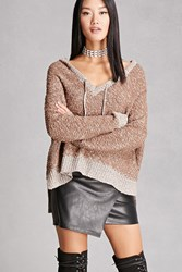 Forever 21 Woven Heart Hooded Sweater Brown
